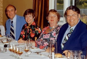 Bob and Kay Warskow with Sally and Ron Clonts at a table during the Great Britain tour.
